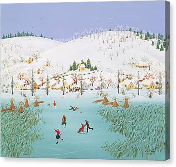 On The Frozen Lake Canvas Print by Magdolna Ban