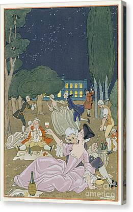 On The Lawn Canvas Print by Georges Barbier