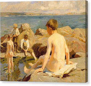 On The Rocks Near Newlyn Canvas Print by Harold Harvey