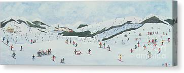 On The Slopes Canvas Print by Judy Joel