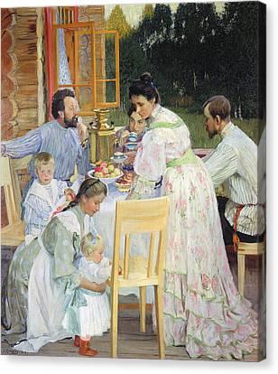 On The Terrace, 1906 Oil On Canvas Canvas Print by Boris Mikhailovich Kustodiev