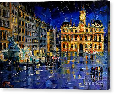 One Evening In Terreaux Square Lyon Canvas Print by Mona Edulesco