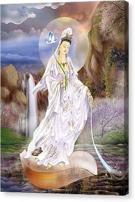 One Leaf Kuan Yin Canvas Print by Lanjee Chee
