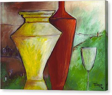 One Upon A Time Jars And Wine Canvas Print by Mirko Gallery