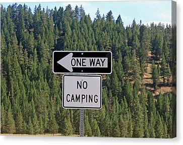 One Way Canvas Print by Larry Stolle