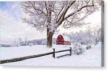 One Winter Morning On The Farm Canvas Print by Edward Fielding