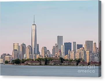 One World Trade Center And Ellis Island 2 Canvas Print by Susan Candelario