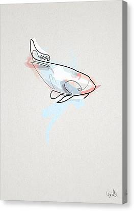 oneline Fish Koi Canvas Print by Quibe