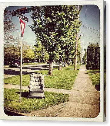 Sofa Canvas Print featuring the photograph Only In #newwest #newwesminster #sofa by NRyan Ferrer