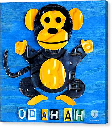 Oo Ah Ah The Monkey License Plate Art Canvas Print by Design Turnpike