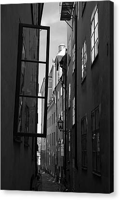 Open Window And Graffitis - Monochrome Canvas Print by Ulrich Kunst And Bettina Scheidulin