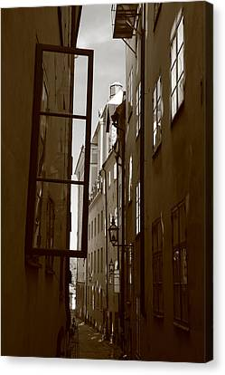 Open Window In Gamla Stan - Sepia Canvas Print by Ulrich Kunst And Bettina Scheidulin