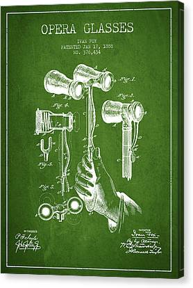 Opera Glasses Patent From 1888 - Green Canvas Print by Aged Pixel