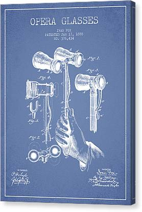 Opera Glasses Patent From 1888 - Light Blue Canvas Print by Aged Pixel