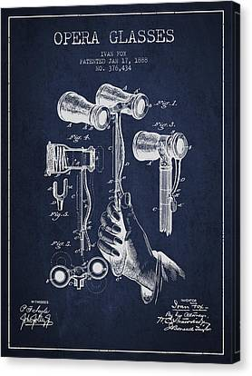Opera Glasses Patent From 1888 - Navy Blue Canvas Print by Aged Pixel