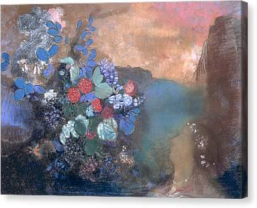 Ophelia Among The Flowers Canvas Print by Odilon Redon