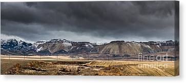 Oquirrh Mountains Winter Storm Panorama 2 - Utah Canvas Print by Gary Whitton