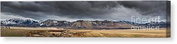 Oquirrh Mountains Winter Storm Panorama - Utah Canvas Print by Gary Whitton