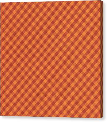 Orang And Brown Checkered Diagonal Tablecloth Cloth Background Canvas Print by Keith Webber Jr