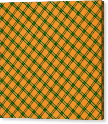 Orange And Green Plaid Cloth Background Canvas Print by Keith Webber Jr