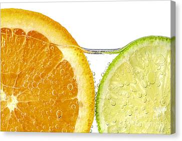 Orange And Lime Slices In Water Canvas Print by Elena Elisseeva