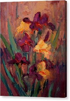 Orange And Purple Iris Canvas Print by R W Goetting