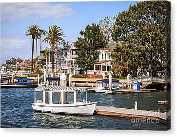 Orange County Waterfront Homes With Duffy Boats Canvas Print by Paul Velgos
