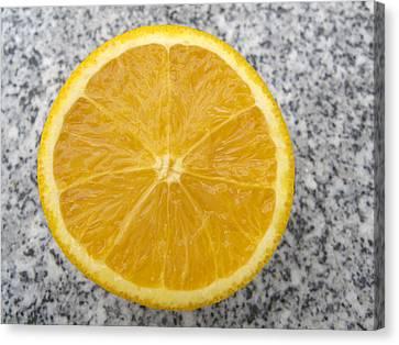 Orange Cut In Half Grey Background Canvas Print by Matthias Hauser