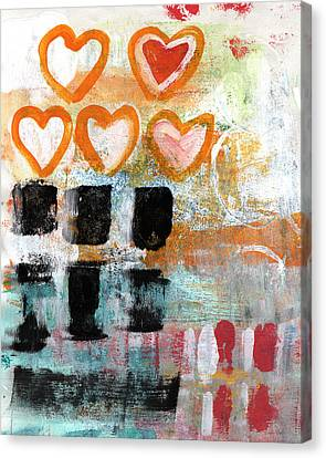 Orange Hearts- Abstract Painting Canvas Print by Linda Woods