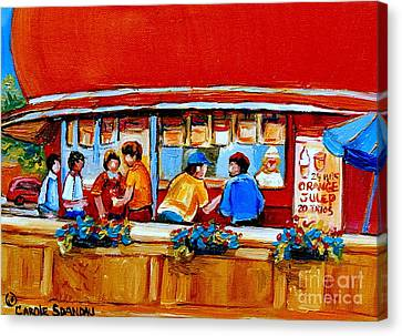 Orange Julep Gibeau Landmarks Of Montreal Canvas Print by Carole Spandau