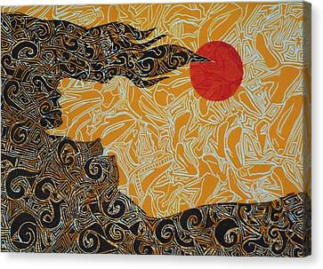 Orange Moon Canvas Print by Esteban Stratton