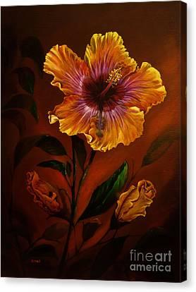 Orange Painted Hibiscus Canvas Print by Zina Stromberg