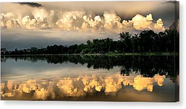 Orange Sunset Reflection Canvas Print by Daliana Pacuraru