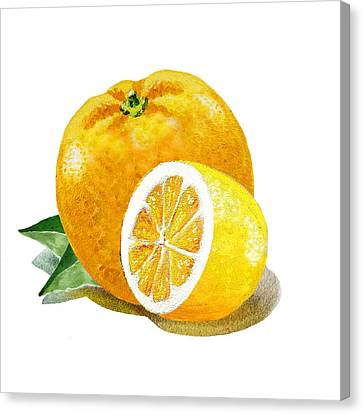 Orange With Half Lemon Canvas Print by Irina Sztukowski