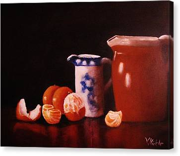 Reflections Of Oranges And Pottery Canvas Print by Virginia Nickle