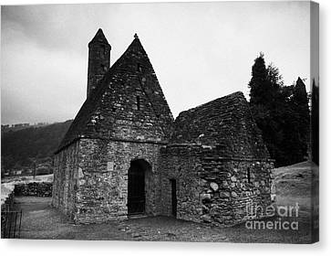 Oratory Known As St Kevins Kitchen Glendalough Monastery County Wicklow Republic Of Ireland Canvas Print by Joe Fox