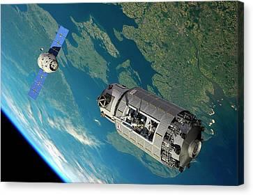 Orbital Maintenance Docking Canvas Print by Walter Myers