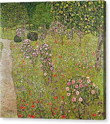 Orchard With Roses Obstgarten Mit Rosen Canvas Print by Gustav Klimt