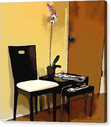 Orchid By A Chair Canvas Print by Robert Smith