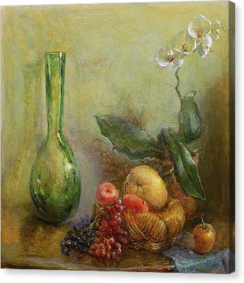 Orchid With Basket Of Fruit And Green Vase Oil On Canvas Canvas Print by Gail Schulman