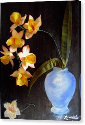 Orchids In A Vase Canvas Print by Brenda Almeida-Schwaar