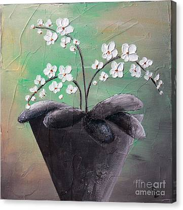 Orchids In Pot Canvas Print by Home Art