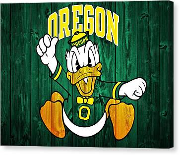 Oregon Ducks Barn Door Canvas Print by Dan Sproul