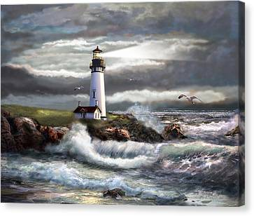 Oregon Lighthouse Beam Of Hope Canvas Print by Gina Femrite