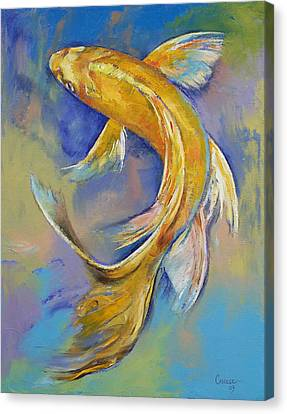 Orenji Butterfly Koi Canvas Print by Michael Creese