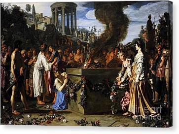 Orestes And Pylades Disputing At The Altar, 1614, By Pieter Lastman C.1583-1633 Canvas Print by Bridgeman Images