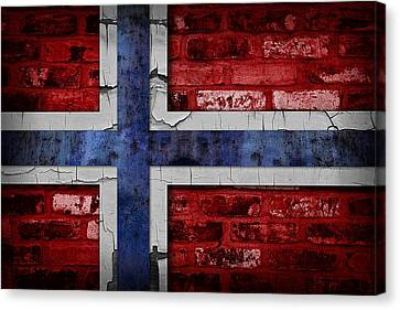 Organic Norway Flag Canvas Print by Daniel Hagerman