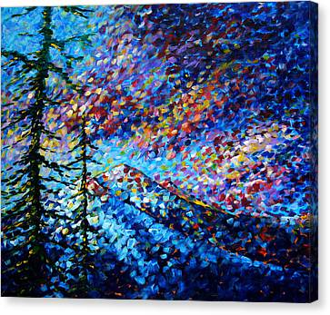 Original Abstract Impressionist Landscape Contemporary Art By Madart Mountain Glory Canvas Print by Megan Duncanson