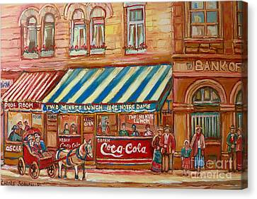 Original Bank Notre Dame Street Canvas Print by Carole Spandau