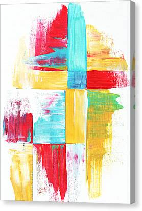 Original Bold Colorful Abstract Painting Patchwork By Madart Canvas Print by Megan Duncanson
